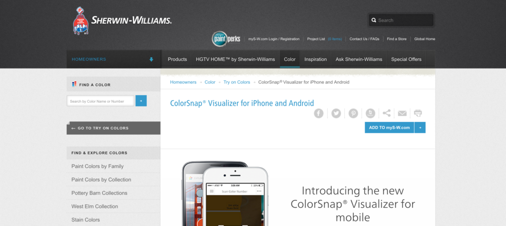 ColorSnap Sherwin WIlliams app